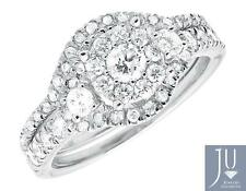 14k White Gold Ladies 3 Stone Cluster Diamond Engagement Wedding Ring Set 1.09ct