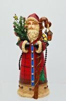 9 Inch Victorian Santa, Resin, Holding Christmas Tree And Shepherds Hook