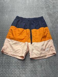 Nike Men's Swim Trunks - Navy, Orange & Peach Striped -Mesh Lined Sz Small NWT