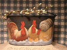 Metal Oval Pail Roosters & Hen In The Winter Snow Hand Painted Folk Art