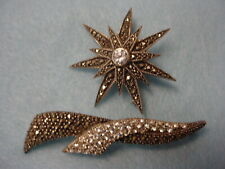 Marcasite Rhinestone Signed Brooches Vintage Lot Two -2- Sterling