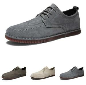 Retro Mens Faux Leather Leisure Shoes Round Toe Lace Up Walking Breathable Shoes