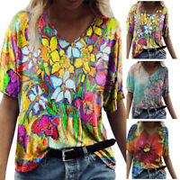 Women V-Neck Colorful Floral Print Short Sleeve T-shirt Casual Blouse Loose Tops