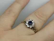 9ct gold ring Sapphire flower size O vintage cocktail antique retro