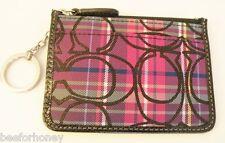 NWT Coach 44145 Tartan Mini Skinny Wallet Pink Multicolor