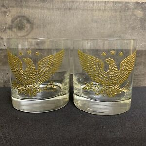 Vintage Embossed Gold American EAGLE & STAR Whiskey Old Fashioned Rocks Glasses
