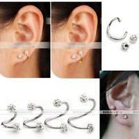 16G Steel Gem Crystal Spiral Twist Nose Lip Eyebrow Ring Earring Bar Piercing