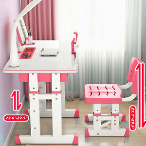 Kids Functional Desk and Chair Set Height Adjustable Children Study Desk w/Lamp