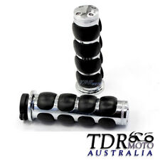 "New Black & Chrome Billet Motorcycle handlebar Hand Grips 1"" 25mm Harley Style"