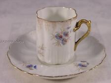 Carlsbad BFHS Austria demitasse cup & saucer blue flowers gold trim 1897-1907