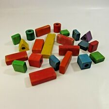 Vintage Playskool Wooden Blocks Lot Colored Colorful Wood Assorted Shapes Sizes