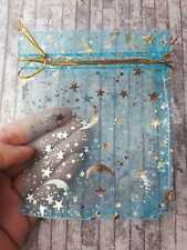 5 Turquoise Star Moon Organza Bags 9 x 12 Baby Shower Favours Party Gifts Pouch