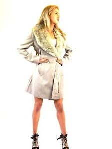 New Long Sexy Fitted Faux Fur Belted Jacket Coat Natural Stone 8 10 12 14