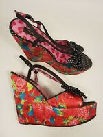 Iron Fist size 5 (38) strawberry print satin buckle strap platform wedge heels