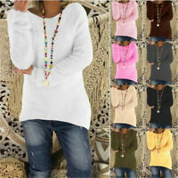 Women Casual Long Sleeve T Shirt Crew Neck Tops Loose Blouse Solid Sweater