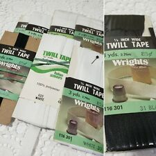 Lot Of 8 Wrights Twill Tape Black White 1/2 And 1/4 Inch Sewing Notions