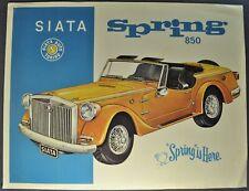 1969 Siata Spring Brochure Sheet Convertible Fiat 850 Excellent Original 69