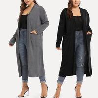 Women Plus Size Long Sleeve Waterfall Asymmetric Drape Open Front Solid Cardigan