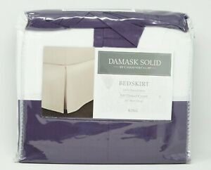 Charter Club Damask Solid 500 Thread Count Pima Cotton Bedskirt - KING - Purple