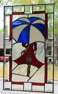 """Stained Glass Window Panel  """"Walking In The Rain""""  (12 1/4   x   20 1/4)"""