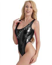 Women's Lingerie Shiny PVC Leather Catsuit Crotchless Jumpsuit Bodysuit Clubwear