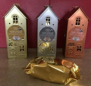 M & S  Led Tea Light House with Luxury Gold Tea Bags - 3 colours to choose from