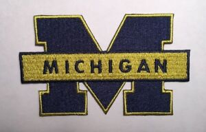 """U of Michigan patch Wolverines M embroidered iron on patch 3 7/8"""" wide Michigan"""
