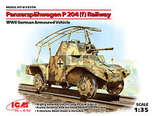 ICM 1/35 Panzerspahwagen P 204 (f) Railway WWII German Armoured Vehicle # 35376