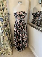 Laura Ashley 12 fits 8-10 strapless floral vintage midi cotton dress fit flare