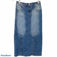 Vezucci Long Denim Jean Maxi Skirt Modest Stretch Straight Slits Pockets Size 12