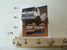 STICKER,DECAL DAF TRUCKS PARIS-DAKAR 1987 TURBO TWIN 2 NOT 100 % OK LARGE