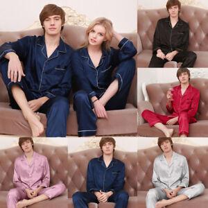 UK Mens Silk Satin Night Pajamas Long Sleeve Sleepwear Nightwear Pj Pyjamas Set