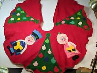 "Vintage 36"" Handmade Felt Christmas Tree Skirt Carolers"