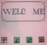 JG Changing Seasons Welcome Sign HP Handpainted Needlepoint Canvas