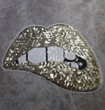 LARGE SEQUIN GOLD LIPS MOUTH TEETH IRON ON PATCH PATCHES APPLIQUE