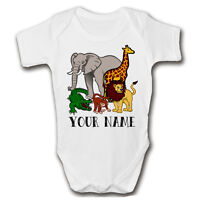 PERSONALISED Animals Baby Grow | Add A Name | Custom Babygrow | Vest | Sleepsuit