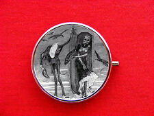 DAY OF THE DEAD SKELETON 3 RING TRINKET STASH ROUND MINT METAL PILL BOX CASE