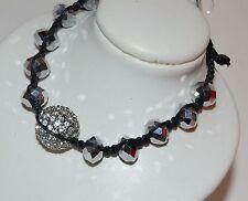 NWT Guess Black Cord-Silver Beads-Rhinestones, Pretty-n-Punk Friendship Bracelet