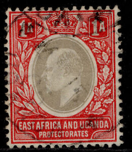 EAST AFRICA and UGANDA EDVII SG18, 1a grey & red, FINE USED.