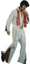 Adult Mens Rock Star Elvis Vegas White Suit Music King Halloween Costume Set New
