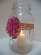 10 Pink Burlap Rustic Mason Jar Candle Centerpiece Wedding Party Decorations J10