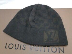 Louis Vuitton Knit Beanie Cap Hat Damier LV  Wool Black Dark Brown 16180155500 K