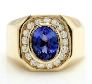 3.20 Carat Natural Tanzanite and Diamonds 14K Solid Yellow Gold Men's Ring