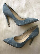 New GUESS Babbitta5 Light Blue Denim Fabric Pointed-Toe Women's Pumps Size 10M