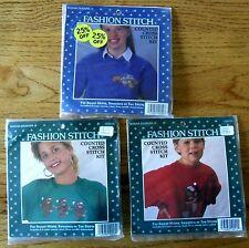 3 Counted Cross Stitch Kits Sweatshirts Tees Christmas Bears Dancing Sleeping
