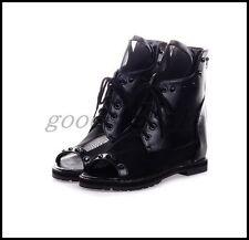 UK Womens Rivet Mesh Summer Peep Toe Roman Sandals Boots Lace UP Back Zip Shoes