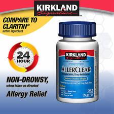 Kirkland AllerClear Non-Drowsy Allergy Loratadine 10mg 365 Tablets - Ships Free!