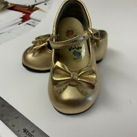Girl's Toddler Gold Shoes Step & Stride Size 3 Vintage Strap Special Occasion