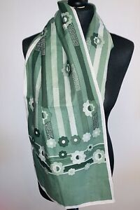Vintage Retro Trendy MOD Silk Style Scarf Patterned Flower Green Italy54 X 13 ''