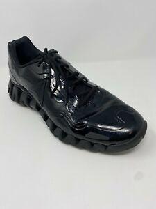 Reebok Mens Zig Pulse SE Low Top Lace Up Running Black/Black/Patent Size 13